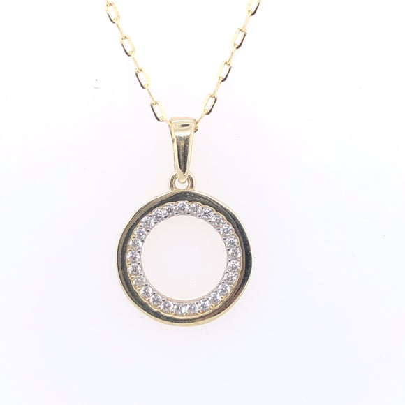 9ct Gold CZ Circle Pendant