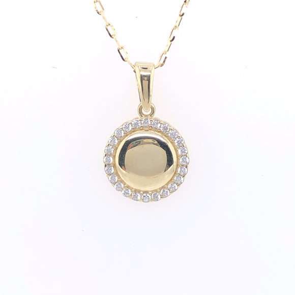 9ct Gold Engravable CZ Disc Pendant