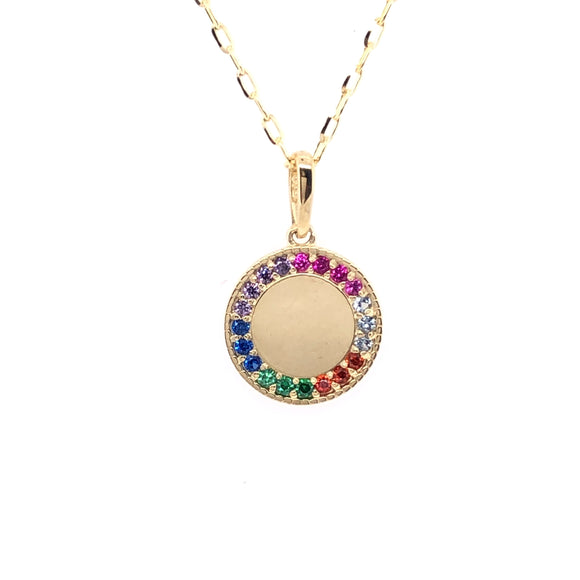 9ct Gold Engravable Rainbow CZ Disc