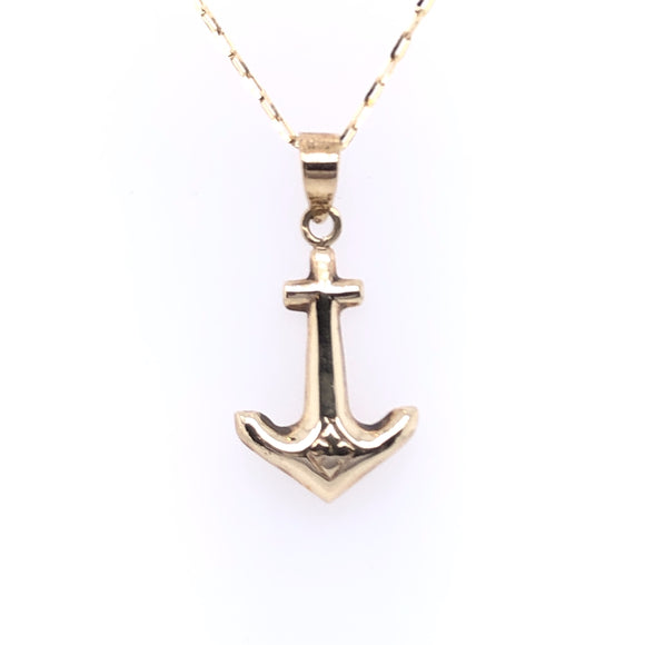9ct Gold Anchor Pendant