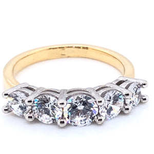 9ct Gold CZ Five-stone Ring