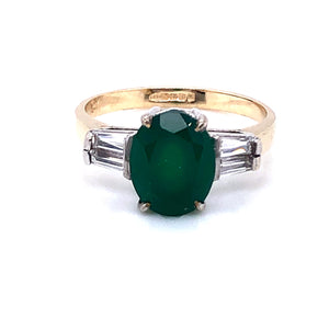 9ct  Gold Green Agate & CZ  Ring