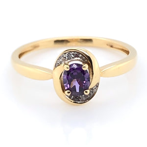 9ct Gold Amethyst & Diamond Swirl Ring