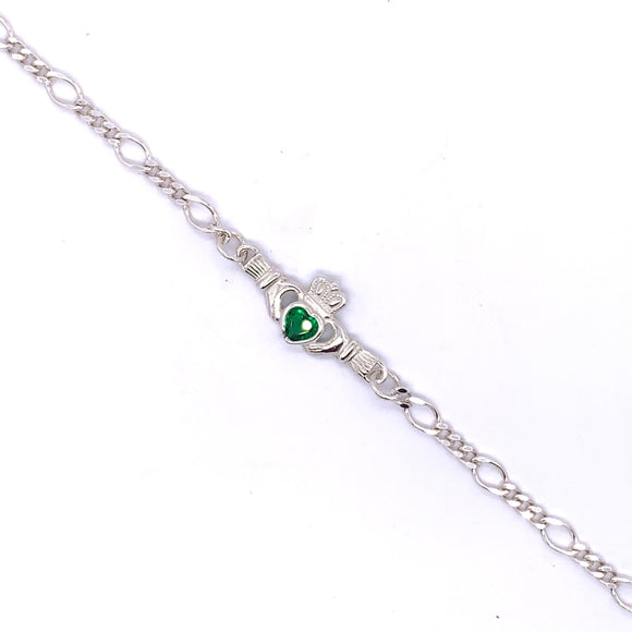 Sterling Silver Claddagh Green CZ Figaro Bracelet