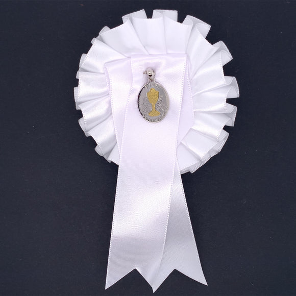 Sterling Silver Oval Communion Medal with White Rosette