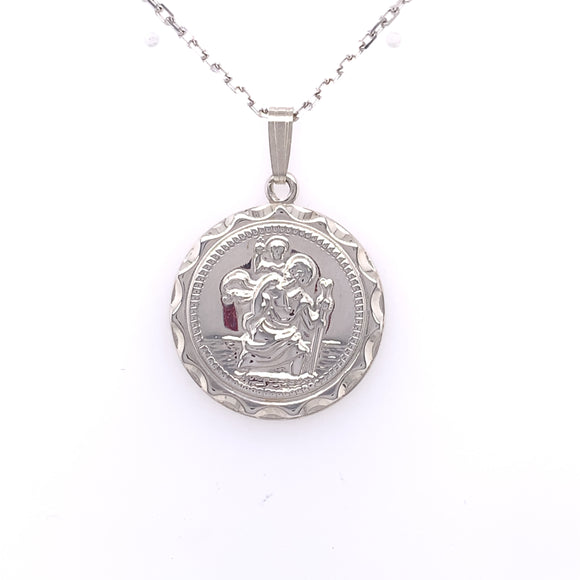 Sterling Silver Round 22mm St. Christopher Medal