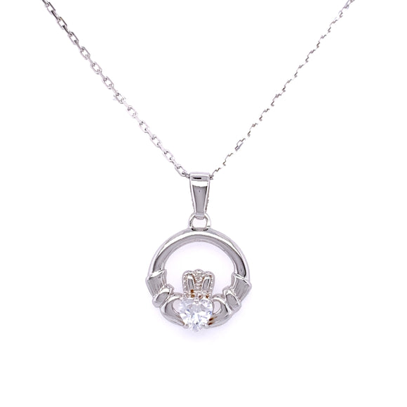 Sterling Silver CZ Claddagh Pendant