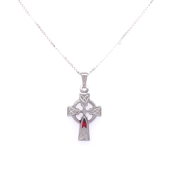 Sterling Silver Small Engraved Celtic Cross