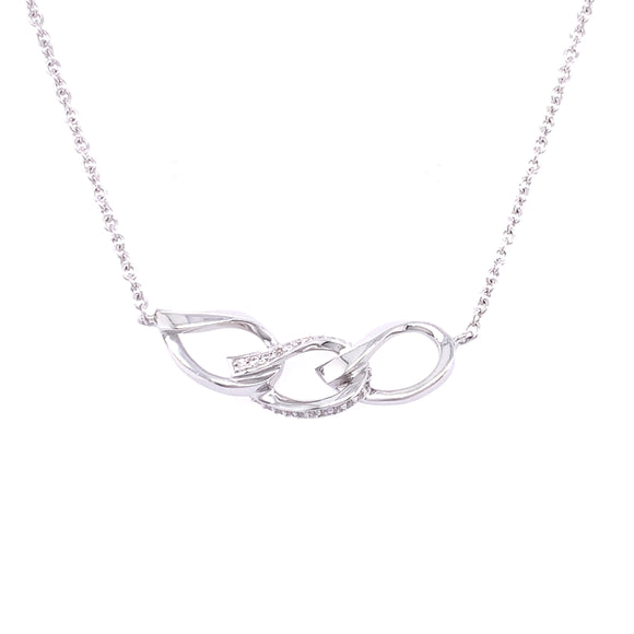 Sterling Silver CZ Three Link Necklet