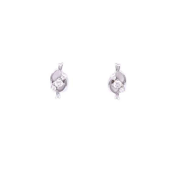 18ct White Gold Diamond Trilogy Twist Stud Earrings