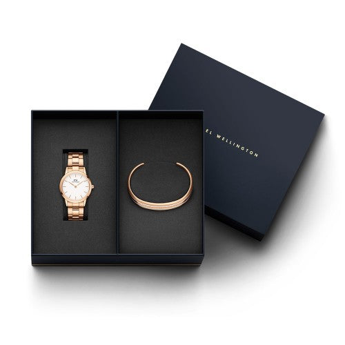 Daniel Wellington - Rose Gold Iconic Link 32mm Watch & Classic Slim Bangle Set