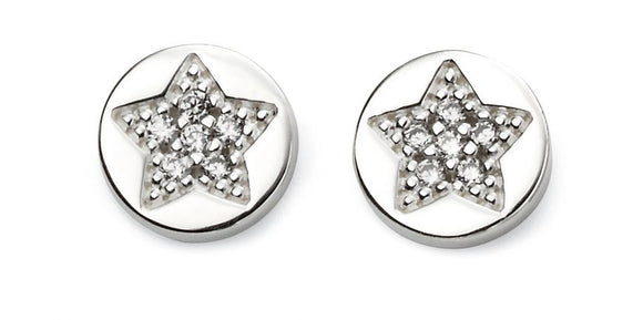 Baumann Sterling Silver Pave Star Stud Earrings