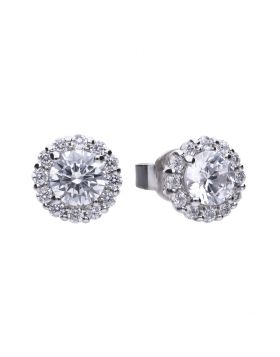 Diamonfire Zirconia Classic Halo Earrings E5576