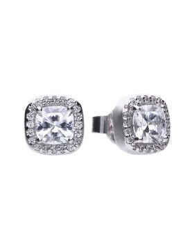 Diamonfire Zirconia Cushion-cut Pavé Earrings E5590