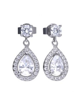Diamonfire Zirconia Teardrop Cluster Drop Earrings E5594
