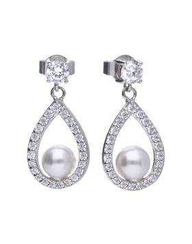 Diamonfire Zirconia & Pearl Teardrop Earrings E5597