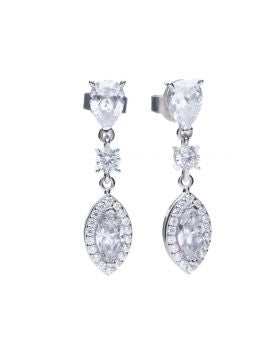 Diamonfire Zirconia Marquise Pavé Drop Earrings E5785