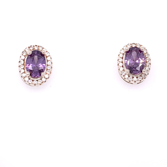 Sterling Silver Amethyst CZ Oval Cluster Earrings