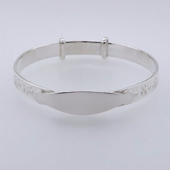 Silver Baby Bangle Teddy Motif