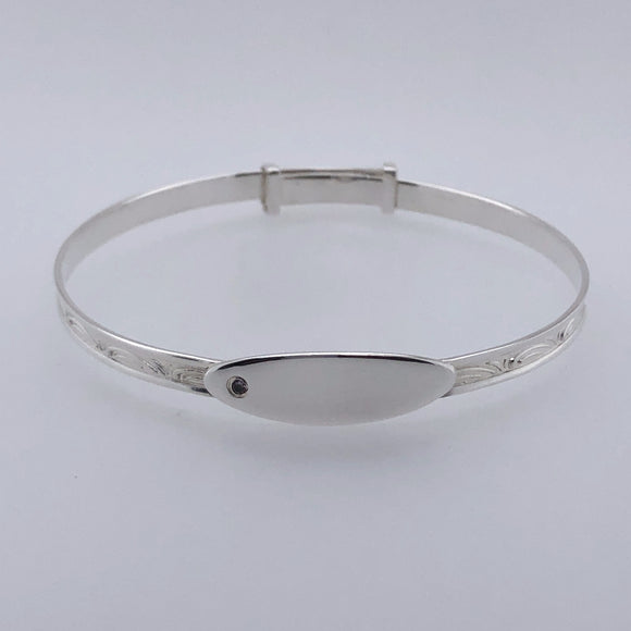 Silver Pink CZ Baby Bangle