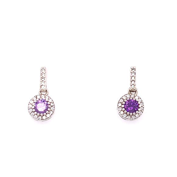 Sterling Silver Amethyst CZ Halo Drop Earrings