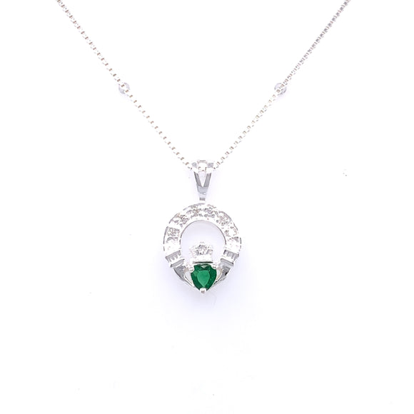 Sterling Silver Green CZ Claddagh Pendant