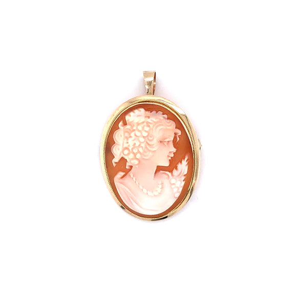 9ct Gold Cameo Girl with Pearls Brooch/Pendant