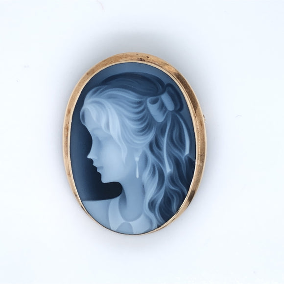 9ct Gold Blue Agate Cameo