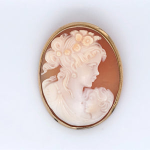 9ct Gold Cameo Mother & Child Brooch/Pendant