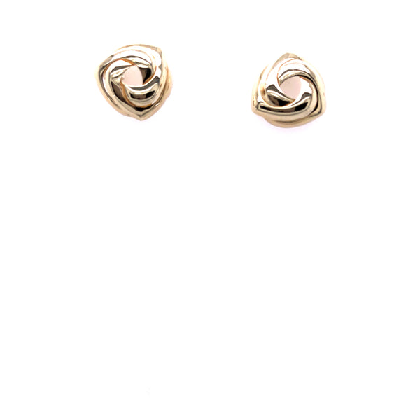 9ct Gold Triangular Swirl Stud Earrings