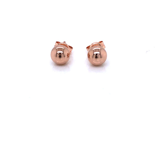 9ct Rose Gold 6mm Ball Stud Earrings