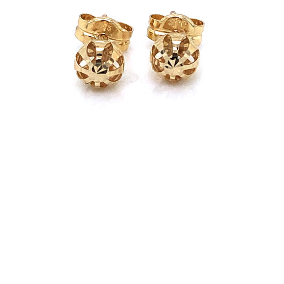 9ct Gold 5mm Diamond-cut Ball Stud Earrings