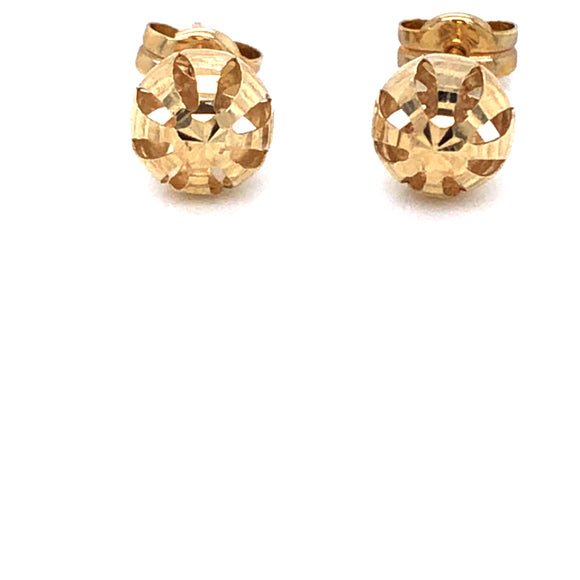 9ct Gold 6mm Diamond-cut Ball Stud Earrings