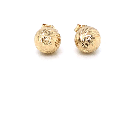 9ct Gold 8mm Diamond-cut Swirl Ball Stud Earrings