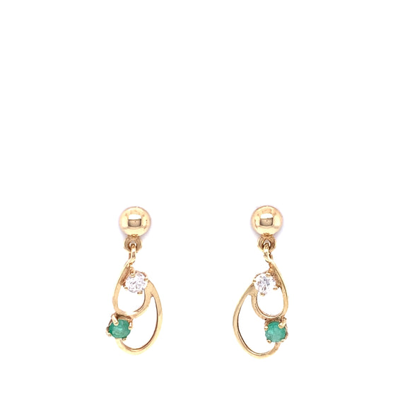 9ct Gold  Emerald & CZ Drop Earrings