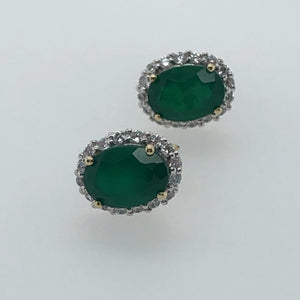 9ct Gold Green Agate & CZ Cluster Earrings