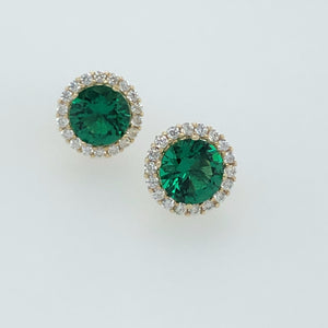 9ct Gold  Green CZ  Halo Earrings