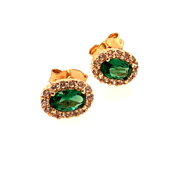 9ct Gold Green CZ Small  Cluster Earrings