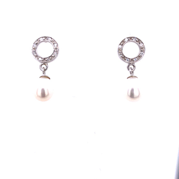 9ct White Gold Pearl & CZ Drop Earrings