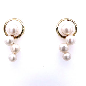 9ct Gold Circle & Pearl Earrings