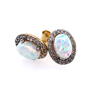 9ct Gold Created Opal & CZ Halo Earrings