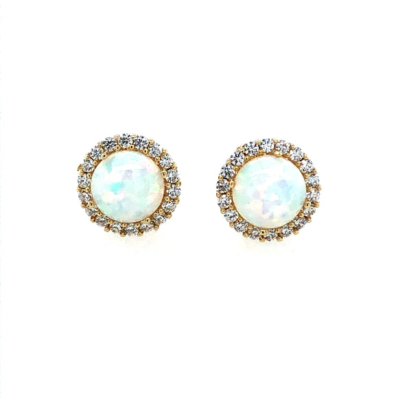 9ct Gold Created Opal & CZ Round Halo Earrings