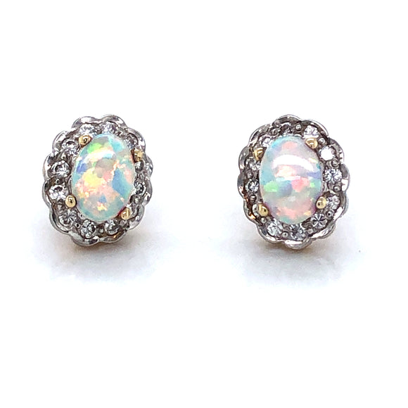 9ct Gold Created Opal & CZ Vintage Cluster Earrings