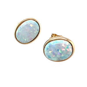 9ct Gold Created Opal Oval Earrings