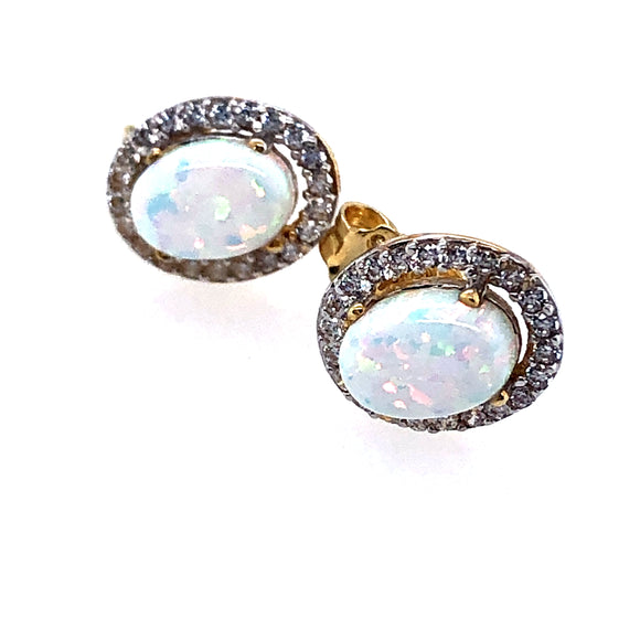 9ct Gold Created Opal & CZ Oval Halo Earrings