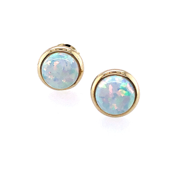 9ct Gold Synthetic Opal Round Earrings