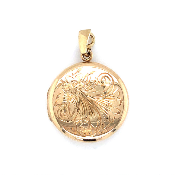 9ct Gold Round Engraved Locket