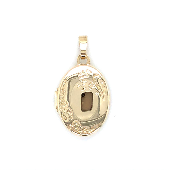 9ct Gold Oval Engraved Locket