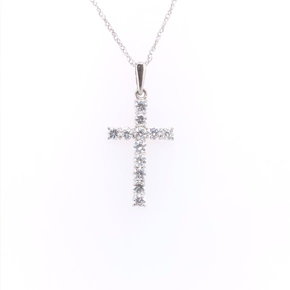 9ct White Gold Medium CZ Cross