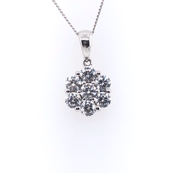 9ct White Gold CZ Floral Cluster Pendant